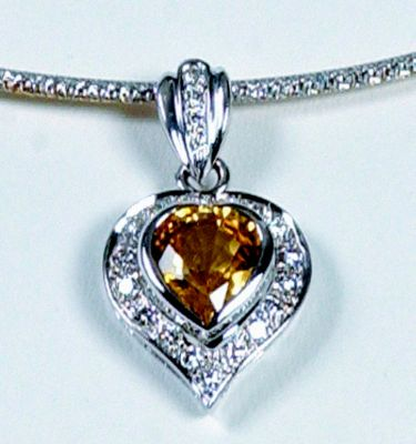 Yellow Sapphire & Diamond Pendant - 18k White Gold + Reversible Omega Chain