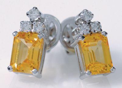 Yellow Sapphire (Emerald Cut) Earrings - White Gold, Diamonds