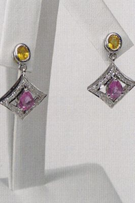 Pink & Yellow Sapphire Earrings - 18k White Gold, Diamonds