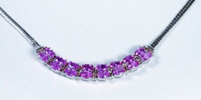 Double Row Pink Sapphire & Diamond Necklace - 18k White Gold