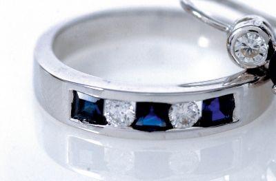 Women's Blue Sapphire & Diamond Stackable Ring - 18k White Gold