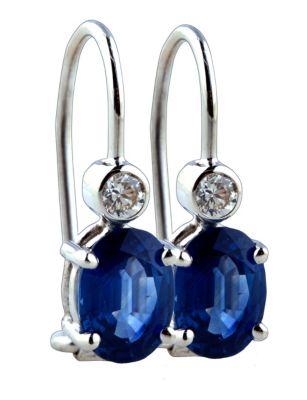 Blue Sapphire & Diamond Earrings - 18k White Gold