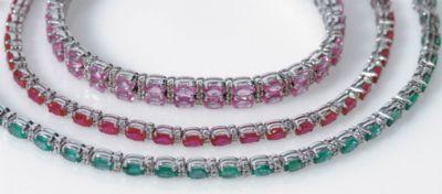 Women's Ruby & Diamond Tennis Bracelet - 18k White Gold