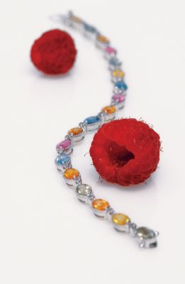 Women's Multi Sapphire & Diamond Tennis Bracelet - 18k White Gold