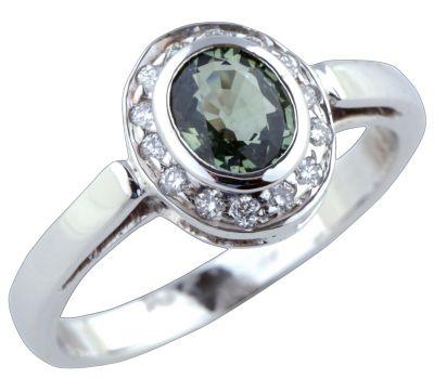 Women's Green Sapphire & Diamond Bezel Ring - 18k White Gold