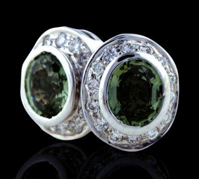 Green Sapphire & Diamond Bezel Earrings - 18k White Gold