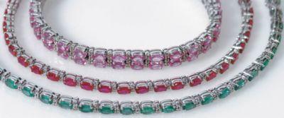 Women's Double Row Pink Sapphire & Diamond Bracelet - 18k White Gold