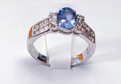 Women's Tanzanite & Diamond Cocktail Ring - 18k White Gold