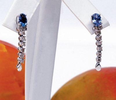 Tanzanite & Diamond Fancy Earrings - 18k White Gold