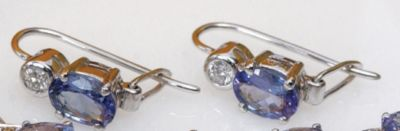Tanzanite & Diamond Earrings - 18k White Gold