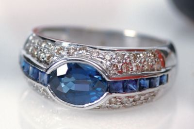 Women's Blue Sapphire & Pavé Diamond