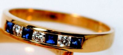 Women's Blue Sapphire & Diamond Stackable Ring - 18k Yellow Gold