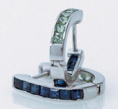 Blue & Green Sapphire Reversible Earrings - 18k White Gold