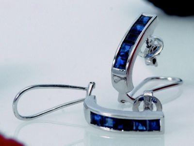Blue Sapphire Channel Earrings - 18k White Gold