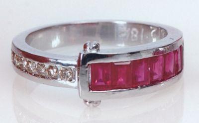 Women's Ruby & Diamond (Single Row) Channel Ring - 18k White Gold