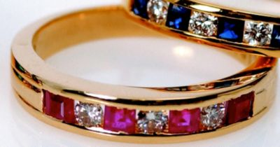 Women's Ruby & Diamond Stackable Ring - 18k Yellow Gold