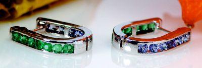 Tanzanite & Emerald Reversible Earrings - 18k White Gold