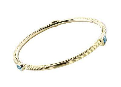 Women's Blue Topaz Gold Bangle Bracelet
