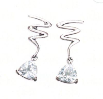 Aquamarine Earrings - Trilliant Cut