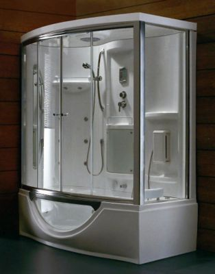 Steam Shower with 6 ft. Acrylic Massage Tub & Left-Hand Drain
