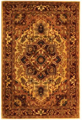 Classic Area Rug - Light Gold/Red