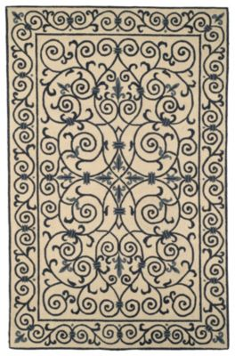 Chelsea 100 Area Rug - Ivory/Dark Blue