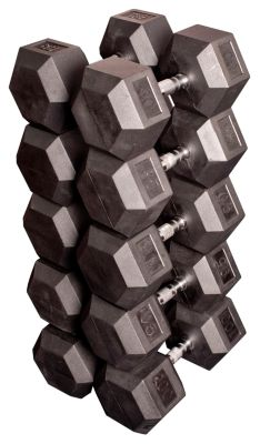 80 - 100 lb. Paired Rubber Coated Hex Dumbbell Set