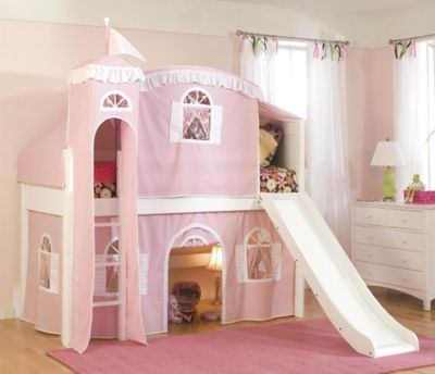 Cottage Twin Loft Bed with Fun Slide
