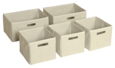 Essentials Tan Storage Bins - Set of 5