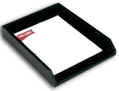 Top-Grain Leather Classic Front-Load Letter-Size Tray - Black
