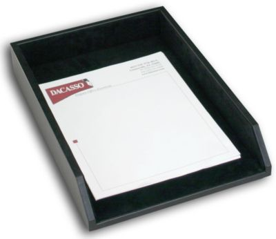 Top-Grain Leather Classic Front-Load Legal-Size Tray - Black