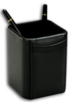 Top-Grain Leather Classic Pencil Cup - Black