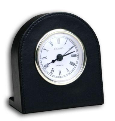 Top-Grain Leather Classic Desk Clock - Black with Gold Trim