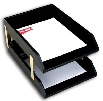 Top-Grain Leather Classic Double Front-Load Legal-Size Trays - Black with Gold Posts