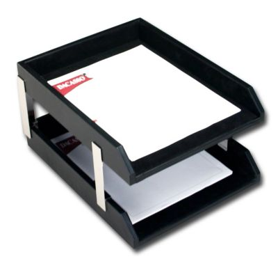 Top-Grain Leather Classic Double Front-Load Letter-Size Trays - Black with Silver Posts