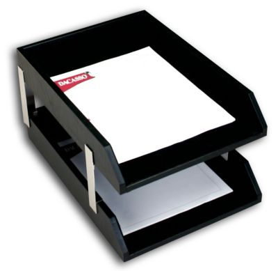 Top-Grain Leather Classic Double Front-Load Legal-Size Trays - Black with Silver Posts