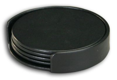 Top-Grain Leather Classic 4 Round Coasters with Holder - Black