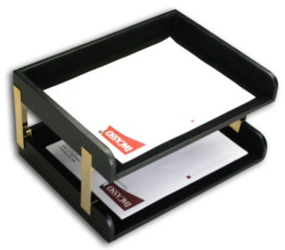 Top-Grain Leather Classic Double Side-Load Letter-Size Tray - Black with Gold Posts