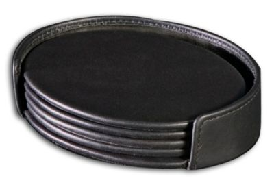 Top-Grain Leather Classic 4 Oval Coasters with Holder - Black