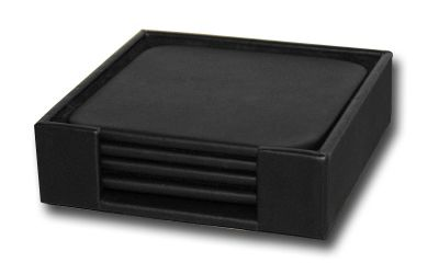 Top-Grain Leather Classic 4 Square Coasters with Holder - Black