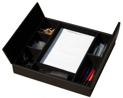 Top-Grain Leather Conference Room Organizer - Black