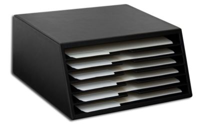 Top-Grain Leather Classic 6-Tray File Sorter - Black