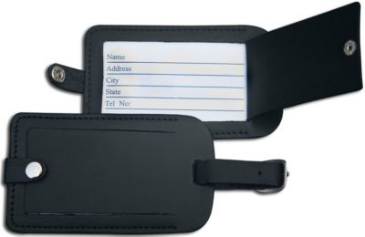 Top-Grain Leather Classic Luggage Tag - Black