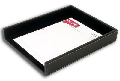 Rustic Top-Grain Leather Front-Load Letter-Size Tray - Black