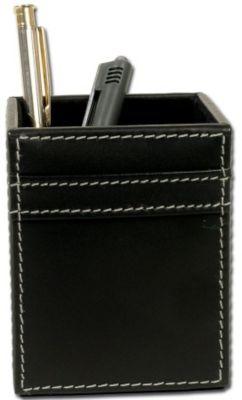 Rustic Top-Grain Leather Pencil Cup - Black