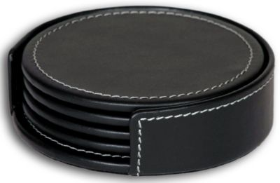 Rustic Top-Grain Leather 4 Round Coasters with Holder - Black