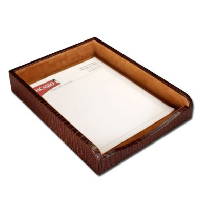 Crocodile Embossed Top-Grain Leather Front-Load Letter-Size Tray - Brown Crocodile