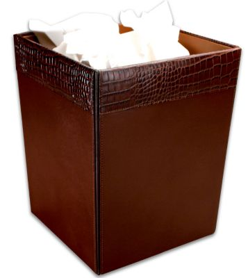 Crocodile Embossed Top-Grain Leather Square Waste Basket - Brown Crocodile