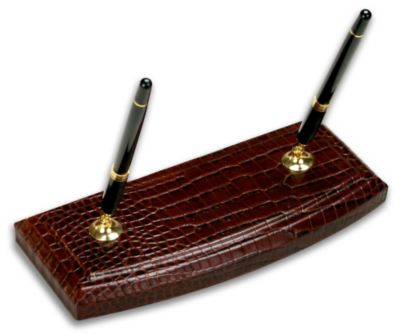 Crocodile Embossed Top-Grain Leather Double Pen Stand - Brown Crocodile