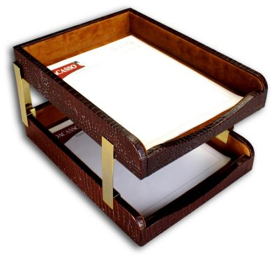 Crocodile Embossed Top-Grain Leather Double Front-Load Letter-Size Trays - Brown Crocodile